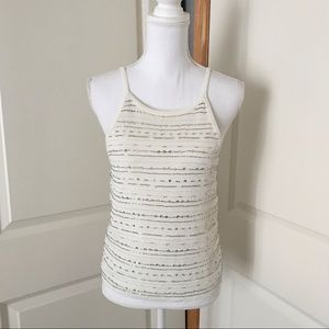 NWT ANN TAYLOR Ivory Beaded Tank Top SIZE SMALL